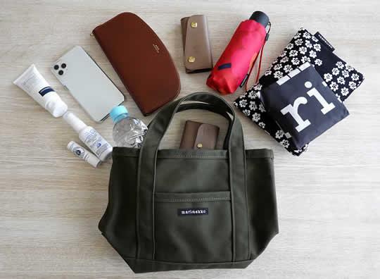 marimekko ミニペルスカッシ トートバッグのサイズ感・鞄の中身